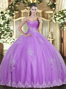 Modern Lilac Ball Gowns Tulle Sweetheart Sleeveless Beading and Appliques Floor Length Lace Up Quinceanera Dress