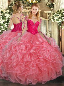 Eye-catching Watermelon Red Ball Gowns Scoop Long Sleeves Organza Floor Length Lace Up Lace and Ruffles Ball Gown Prom Dress