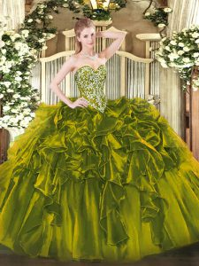 Floor Length Ball Gowns Sleeveless Olive Green Quinceanera Gowns Lace Up