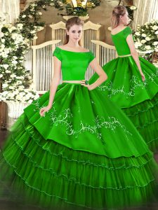 Fabulous Green Sweet 16 Quinceanera Dress Military Ball and Sweet 16 and Quinceanera with Embroidery and Ruffled Layers Off The Shoulder Short Sleeves Zipper