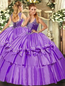 Lavender Straps Neckline Beading and Ruffled Layers Quinceanera Dress Sleeveless Lace Up