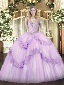 Romantic Floor Length Lavender Sweet 16 Dresses Sweetheart Sleeveless Lace Up