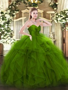 Fantastic Green Ball Gowns Sweetheart Sleeveless Tulle Floor Length Zipper Ruffles Quince Ball Gowns