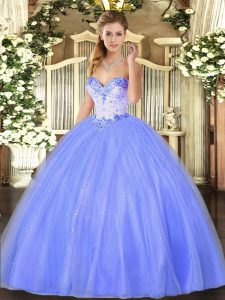 Stylish Floor Length Ball Gowns Sleeveless Blue 15 Quinceanera Dress Lace Up
