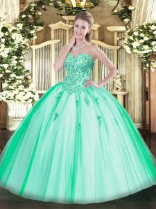 Best Sleeveless Floor Length Appliques Lace Up Quince Ball Gowns with Turquoise
