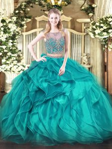 Top Selling Teal Quinceanera Dresses Military Ball and Sweet 16 and Quinceanera with Beading and Ruffles Scoop Sleeveless Lace Up
