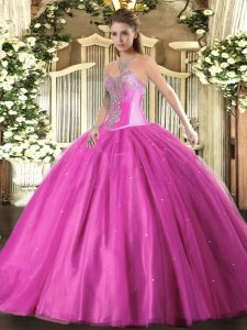 Fuchsia Lace Up Sweetheart Beading Sweet 16 Quinceanera Dress Tulle Sleeveless
