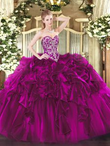Sweetheart Sleeveless Quinceanera Dresses Floor Length Beading and Ruffles Fuchsia Organza
