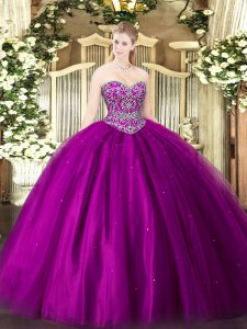 Fine Floor Length Fuchsia Quince Ball Gowns Tulle Sleeveless Beading