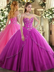 Elegant Fuchsia Sweetheart Lace Up Appliques and Embroidery Quinceanera Dresses Brush Train Sleeveless