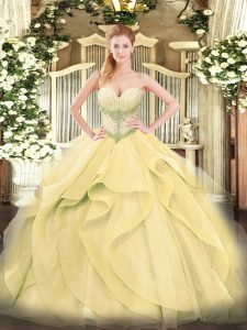 Excellent Sleeveless Tulle Floor Length Lace Up Quinceanera Gown in Gold with Beading and Ruffles