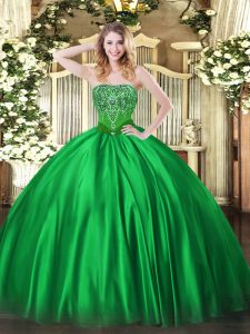 Inexpensive Green Lace Up Sweet 16 Quinceanera Dress Beading Sleeveless Floor Length