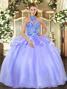 Lavender Organza Lace Up Ball Gown Prom Dress Sleeveless Floor Length Embroidery