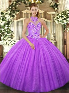 Decent Lavender Ball Gowns Halter Top Sleeveless Tulle Floor Length Lace Up Beading 15 Quinceanera Dress