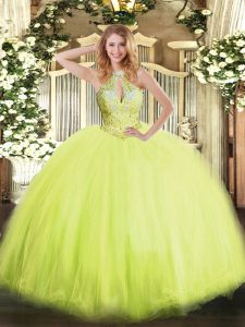 Fine Yellow Green Ball Gowns Tulle Halter Top Sleeveless Beading Floor Length Lace Up Ball Gown Prom Dress