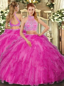 Hot Pink Two Pieces Halter Top Sleeveless Tulle Floor Length Criss Cross Beading Sweet 16 Dresses