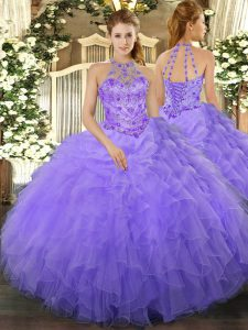 Floor Length Lavender Quince Ball Gowns Halter Top Sleeveless Lace Up