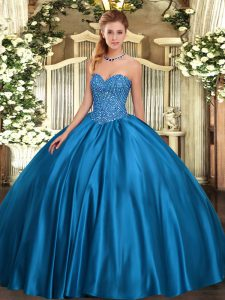 Blue Satin Lace Up Sweetheart Sleeveless Floor Length 15 Quinceanera Dress Beading