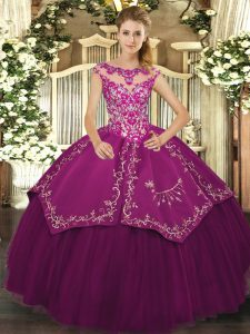 Purple Satin and Tulle Lace Up Vestidos de Quinceanera Cap Sleeves Floor Length Beading and Embroidery