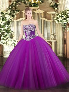 Superior Purple Strapless Lace Up Beading 15 Quinceanera Dress Sleeveless