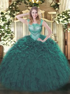 Nice Beading and Ruffles Sweet 16 Dresses Teal Lace Up Sleeveless Floor Length