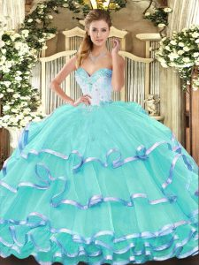 Popular Sweetheart Sleeveless Lace Up Ball Gown Prom Dress Turquoise Organza