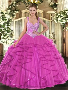 Fuchsia Ball Gowns Straps Sleeveless Tulle Floor Length Lace Up Beading and Ruffles 15 Quinceanera Dress