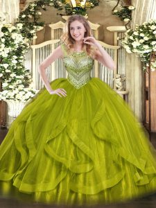 Olive Green Ball Gowns Beading Vestidos de Quinceanera Lace Up Tulle Sleeveless Floor Length