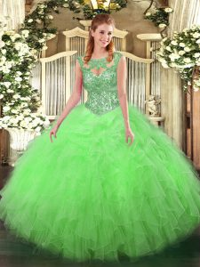 Floor Length Quinceanera Dresses Scoop Sleeveless Lace Up