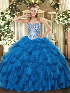 Blue Sleeveless Floor Length Beading and Ruffles Lace Up 15th Birthday Dress