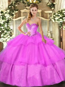 Fantastic Lilac Ball Gowns Tulle Sweetheart Sleeveless Beading and Ruffled Layers Floor Length Lace Up Quinceanera Gowns