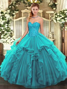 Teal Lace Up Sweetheart Beading and Ruffles 15th Birthday Dress Tulle Sleeveless