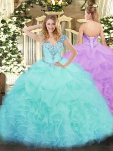 Floor Length Aqua Blue Quinceanera Gowns Organza Sleeveless Ruffles