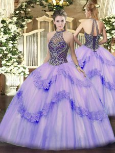 Vintage Sleeveless Lace Up Floor Length Beading and Appliques 15 Quinceanera Dress