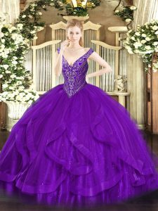 Pretty Purple V-neck Neckline Beading and Ruffles 15th Birthday Dress Sleeveless Lace Up