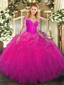 Fashionable Floor Length Fuchsia Sweet 16 Dress Scoop Long Sleeves Lace Up