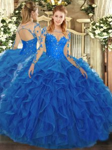 Blue Lace Up Vestidos de Quinceanera Lace and Ruffles Long Sleeves Floor Length