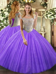 Customized Tulle Sleeveless Floor Length Sweet 16 Quinceanera Dress and Beading