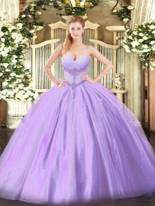 Best Selling Lavender Sleeveless Tulle Lace Up Sweet 16 Dress for Military Ball and Sweet 16 and Quinceanera