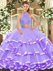 Attractive Lavender Halter Top Criss Cross Beading and Ruffled Layers Quinceanera Dress Sleeveless