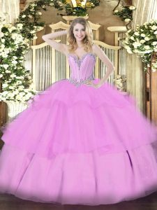 Edgy Sweetheart Sleeveless Lace Up Quinceanera Dresses Lilac Tulle