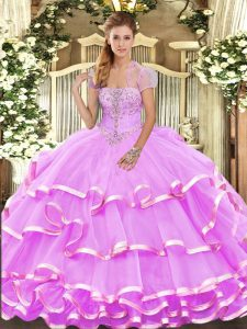 New Style Lilac Organza Lace Up Vestidos de Quinceanera Sleeveless Floor Length Appliques and Ruffled Layers