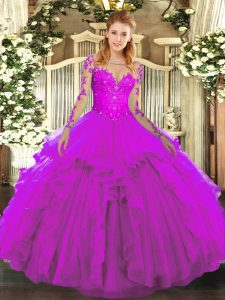 Long Sleeves Floor Length Lace and Ruffles Lace Up Quinceanera Dress with Fuchsia