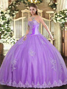 Traditional Lavender Tulle Lace Up Quince Ball Gowns Sleeveless Floor Length Beading and Appliques