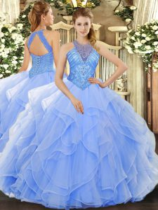 Hot Selling Light Blue Organza Lace Up High-neck Sleeveless Floor Length Quince Ball Gowns Beading and Ruffles