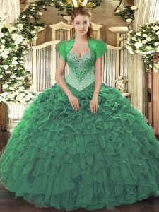 Floor Length Lace Up 15 Quinceanera Dress Green for Military Ball and Sweet 16 and Quinceanera with Beading and Ruffles