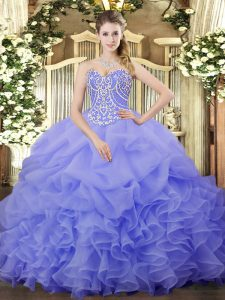 Lavender Lace Up Quinceanera Dress Beading and Ruffles and Pick Ups Sleeveless Floor Length