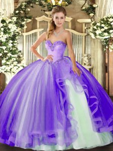 Ideal Lavender Sleeveless Tulle Lace Up Sweet 16 Quinceanera Dress for Military Ball and Sweet 16 and Quinceanera