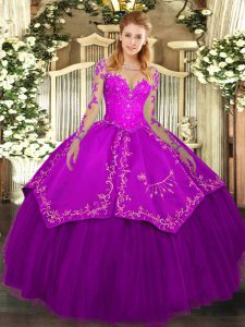 Elegant Floor Length Purple Sweet 16 Dresses Organza and Taffeta Long Sleeves Lace and Embroidery