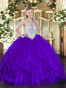 Best Selling Purple Zipper 15 Quinceanera Dress Beading and Ruffles Sleeveless Floor Length